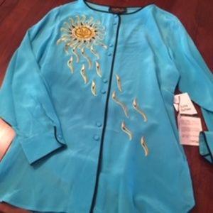 Bob Mackie wearable art silk blouse-NEW